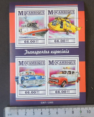 Mozambique 2015 special rescue transport cars helicopters aviation ships m/sheet mnh