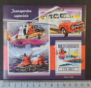 Mozambique 2015 special rescue transport cars helicopters aviation ships s/sheet mnh