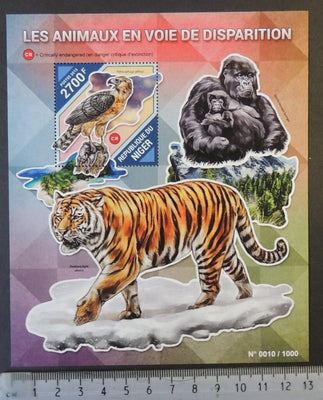 Niger 2015 endangered animals red list gorillas tigers cats birds s/sheet mnh
