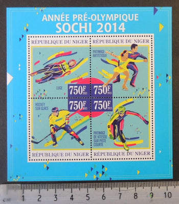 Niger 2013 sochi winter olympics sport ice hockey speed skating ice dancing m/sheet mnh