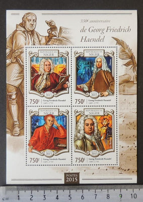 Niger 2015 george fredrick handel classical music composer m/sheet mnh