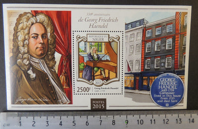 Niger 2015 george fredrick handel classical music composer s/sheet mnh