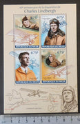 Niger 2014 charles lindbergh aviation pioneer maps m/sheet mnh