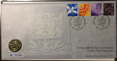Great Britain 1999 Royal Mint A Parliament for Scotland £1 coin + stamps on first day cover, Edinburgh postmark mint condition