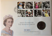 Great Britain 2011 Royal Mint Diamond Jubilee £5 coin + stamps on first day cover (large envelope), mint condition check scans for quality, this is the cover you will receive