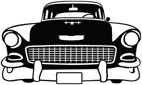 1955 Chevy Bel Air Front View Vinyl Decal Vintage car
