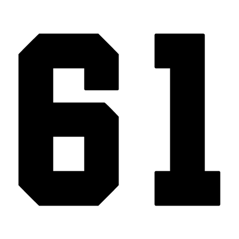 61 number decal sixty one numeric vinyl sticker