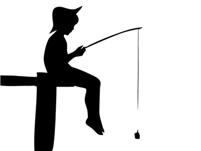 Boy fishing dock camping olden days vinyl decal bumper sticker laptop