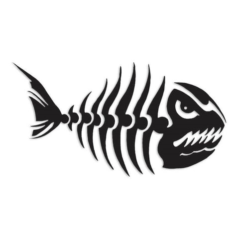 Fish Bones Skeleton Angry Decal Sticker