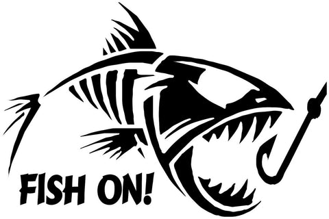 Fish on! fish bones fishing decal vinyl sticker