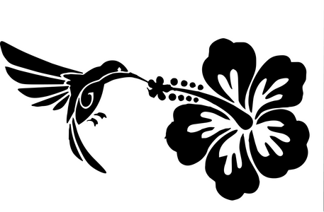 HUMMINGBIRD HIBISCUS  Flower Humming Bird Feeder Car SUV Sticker