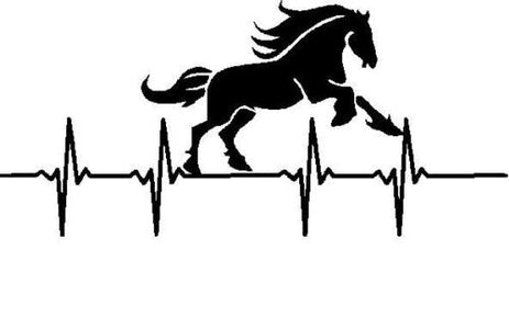 Horse running heartbeat life line vinyl decal sticker