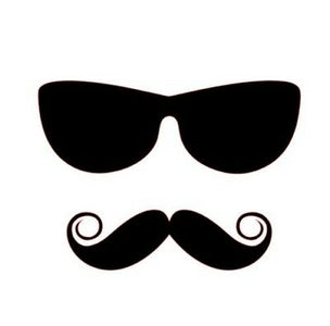 SUNGLASSES HANDLEBAR MUSTACHE Die cut Vinyl Decal   Car Window Sticker phone fun