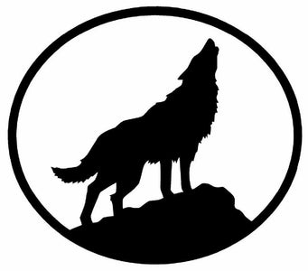 WOLF Vinyl Decal   Sticker Car Window Wall Bumper Howling Oval Dog Animal White