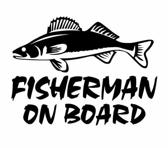 fisherman on board walleye fishing decal car truck boat bumper window sticker