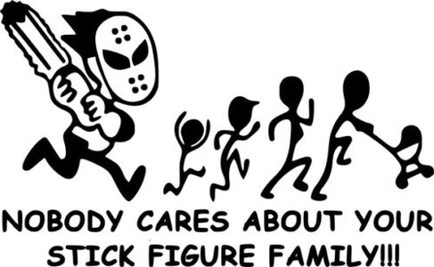 stick figure family nobody cares car truck window vinyl sticker decal