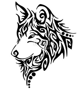wolf head tribal 2