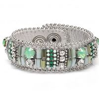 SWAN Boutique SOHO Leather Beaded & Crystal Cuff - Aqua & Silver