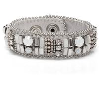 SWAN Boutique SOHO Beaded Crystal Cuff - Silver & White