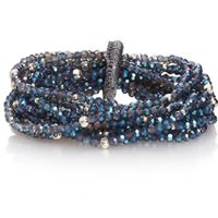SWAN Boutique Multi Strand Beaded Elasticated Bracelet - Denim