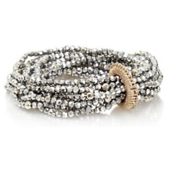 SWAN Boutique Elasticated Wrist Bracelet - Gun Metal Silver