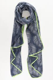 SWAN Boutique Navy with Palm Leaf Print Neon Yellow Trim