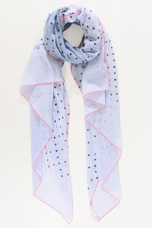 SWAN Boutique Pale Blue Polka Dot with Neon Metallic Trim Scarf
