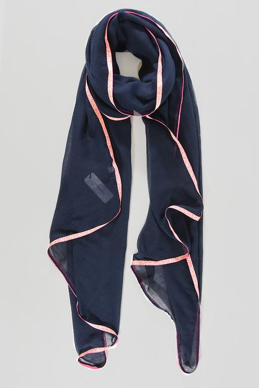 SWAN Boutique Navy Blue Neon Pink Animal Trimmed Scarf