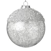 Glass Bauble with White Decoration