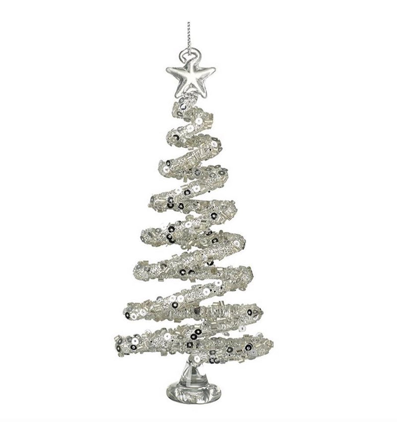Glass Sequin Silver Christmas Tree
