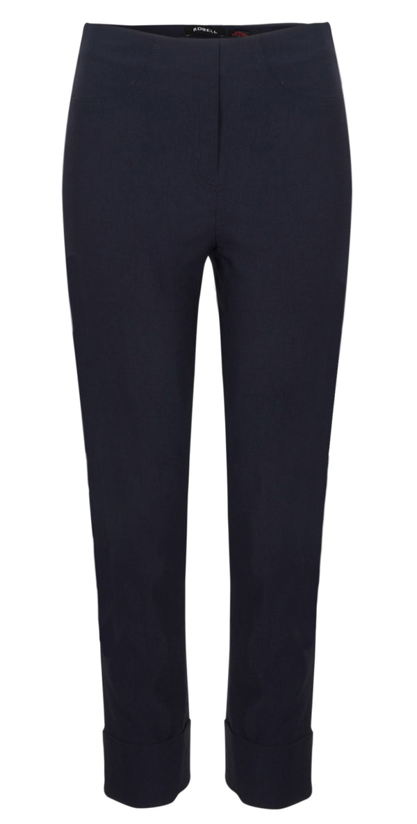 ROBELL BELLA 09 7/8 Ankle Crop Cuff Trouser - 69 Navy