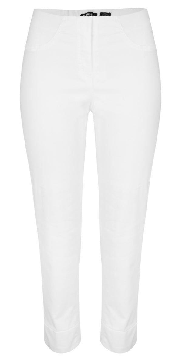 ROBELL BELLA DENIM 09 7/8 Crop Ankle Cuff Jeans - 10 White Denim