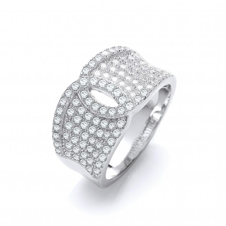 SWAN Boutique Rhodium Plated Pave Set Band Ring