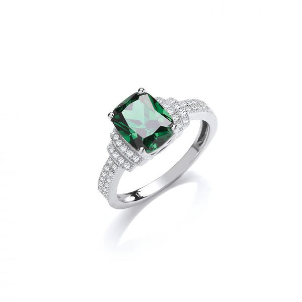SWAN Boutique Rhodium Plated Silver Emerald Cut Emerald Halo Ring