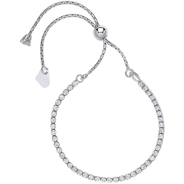 SWAN Boutique Silver Adjustable Friendship Tennis Bracelet