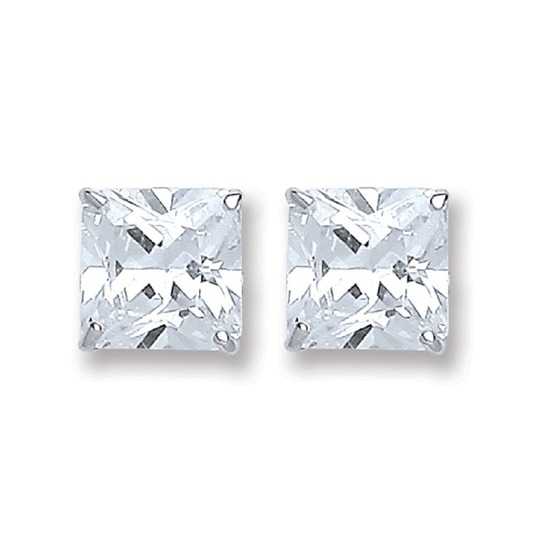 SWAN Boutique Rhodium Plated Silver Princess Cut Stud Earrings