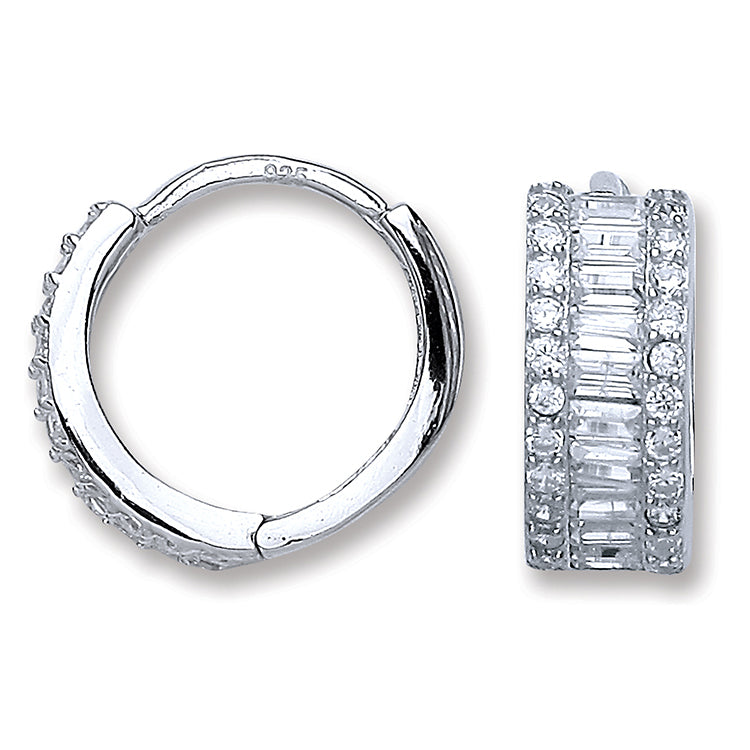 SWAN Boutique Rhodium Plated Silver Baguette Huggie Earrings