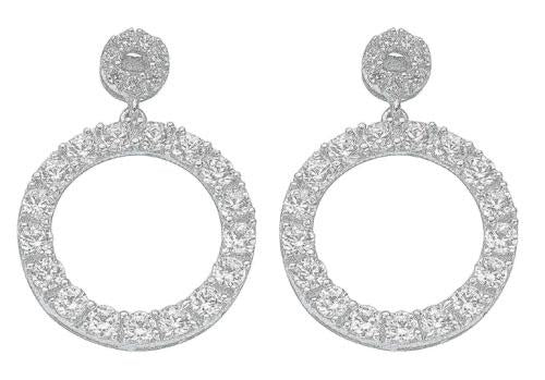 SWAN Boutique Rhodium Plated Silver 23mm Circle Drop Earrings
