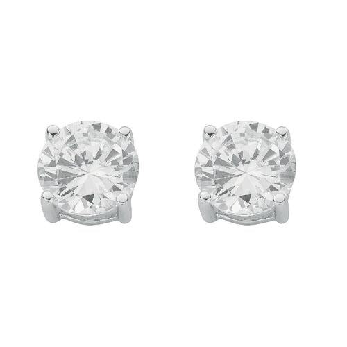 SWAN Boutique Rhodium Plated Silver Brilliant Cut Stud Earrings