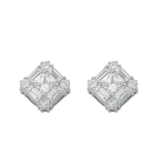 SWAN Boutique Rhodium Plated Silver Princess & Baguette Stud Earrings