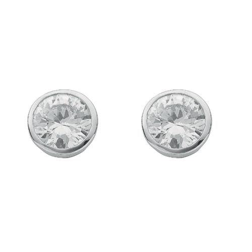 SWAN Boutique Rhodium Plated Silver 6mm Rubover Solitaire Stud Earrings