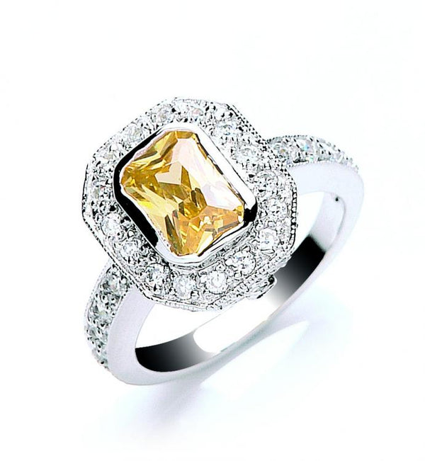 SWAN Boutique Rhodium Plated Silver & Yellow  Emerald Cut  Halo Ring