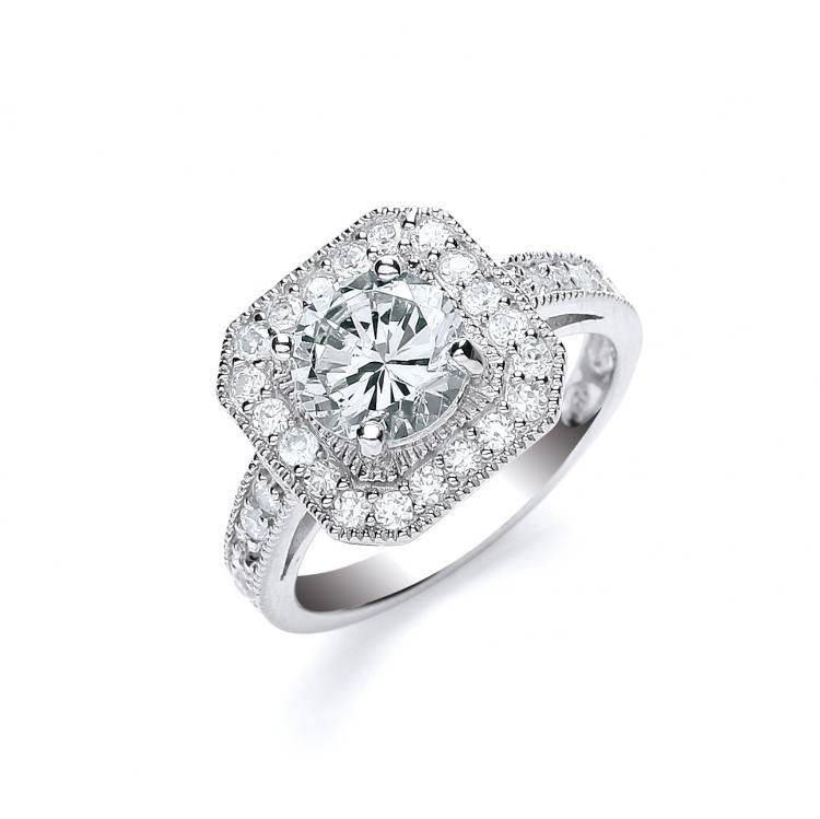 SWAN Boutique Rhodium Plated Silver Solitaire Halo Ring