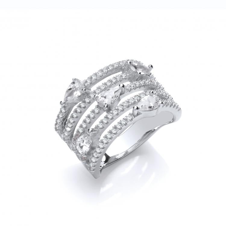 SWAN Boutique Rhodium Plated 5 Row Ring