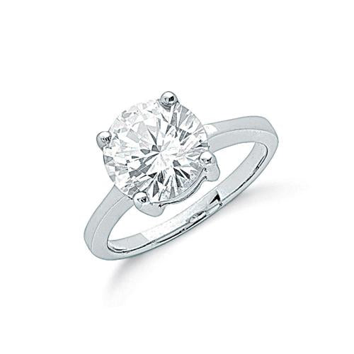 SWAN Boutique Rhodium Plated Large 10mm Brilliant Cut Solitaire Ring