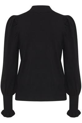 DR GILOU Puff Sleeve Sweater - Black