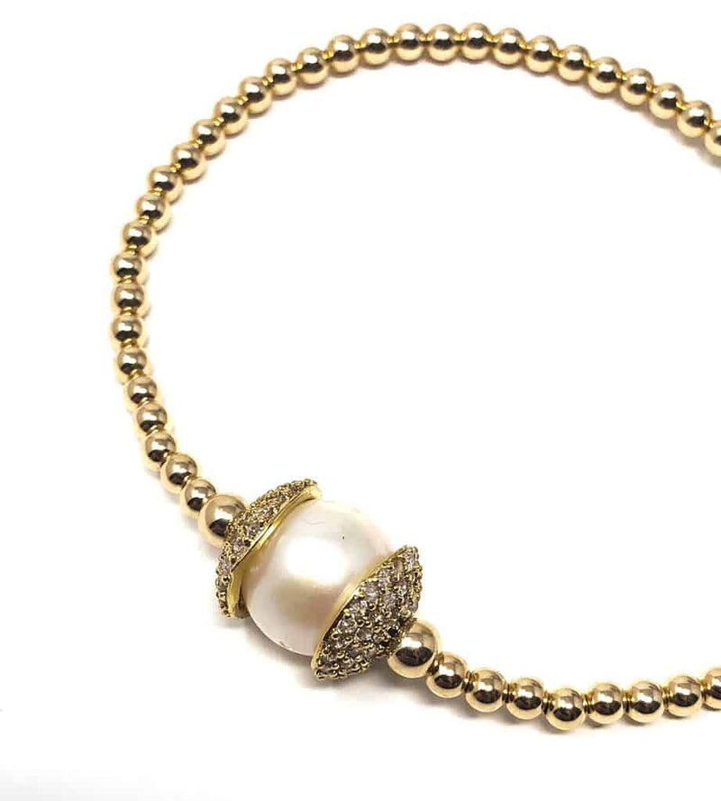 SWAN Boutique SOLO CZ and Pearl Ball Bracelet- Gold