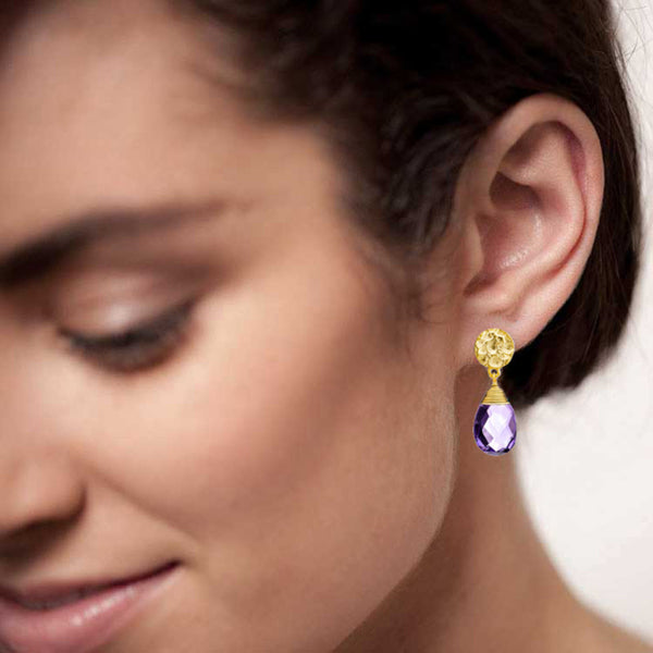 KATE Large Gold Plated Gemstone Drop - Amethyst