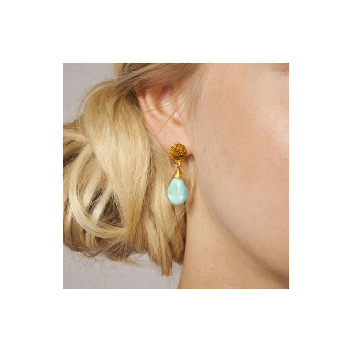 KATE Large Gold Plated Gemstone Drop - Aqua Chalcedony