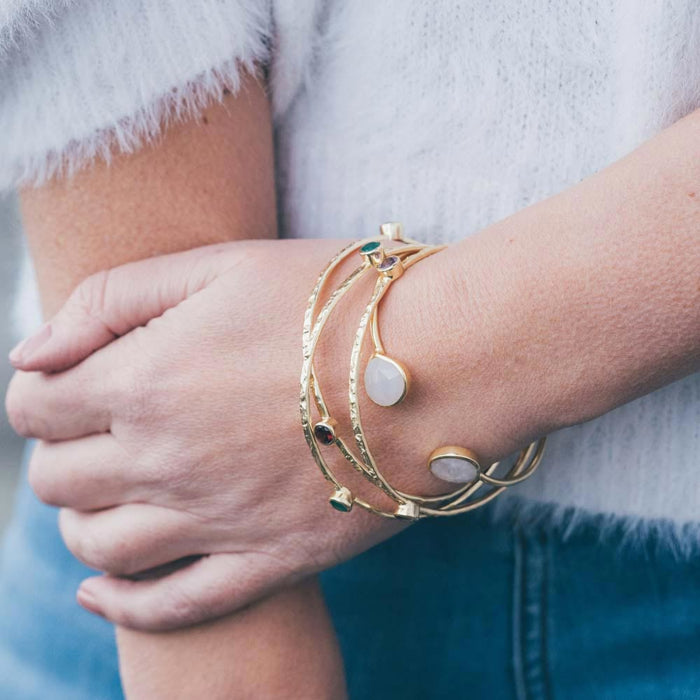 Three Stone Gold Plated Stacking Bangles - Aqua Chalcedony